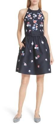 Kate Spade Pom Pom Embrroidered Fit & Flare Dress
