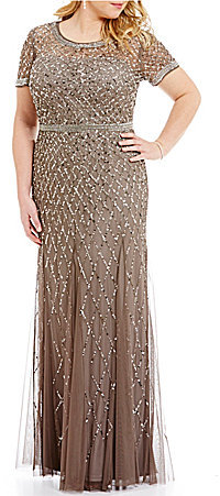 Adrianna Papell Adrianna Papell Plus Beaded Short Sleeve Gown