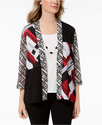 Alfred Dunner Petite Layered Look Necklace Top