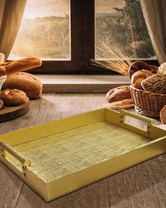 Jay Import Co Leather Serving Tray w/ Handles, Gold