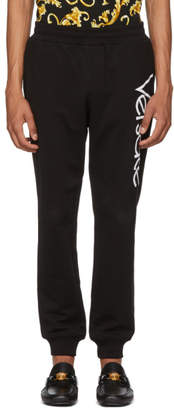 Versace Black Embroidered Logo Lounge Pants