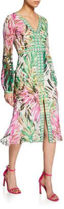 Badgley Mischka Palm Border Printed Long-Sleeve Midi Dress with Slit