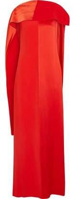 Diane von Furstenberg Paneled Draped Satin And Faille Maxi Dress