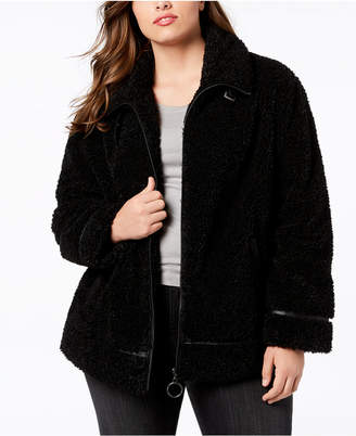 Madden-Girl Juniors' Plus Size Faux-Fur Teddy Coat