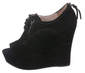 Miu Miu Suede Peep-Toe Wedge Boots