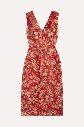 Prada Metallic Floral-jacquard Midi Dress - Red