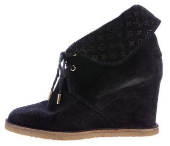 Louis Vuitton Suede Monogram Booties