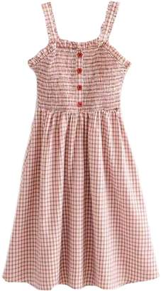 Goodnight Macaroon 'Nadie' Gingham Strap Button Front Midi Dress
