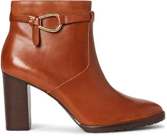 Lauren Ralph Lauren Deep Saddle Laletta Leather Ankle Booties