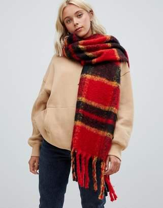 Bershka Red plaid scarf