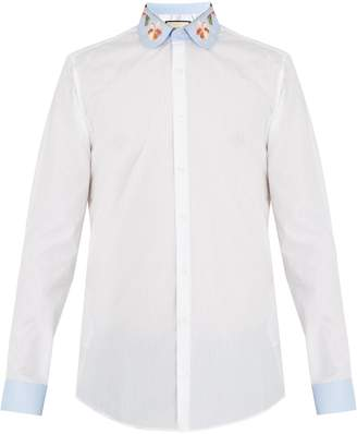 Gucci Floral-embroidered striped cotton shirt
