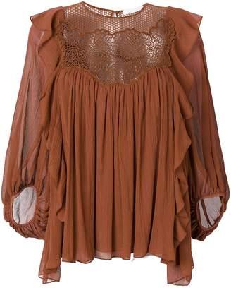 Chloé lace yoke peasant blouse