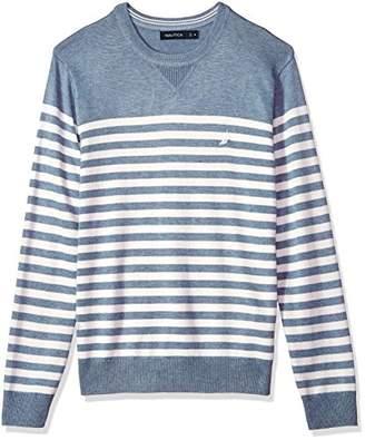 Nautica Men's Long Sleeve Bretton Stripe Crew Neck Sweater