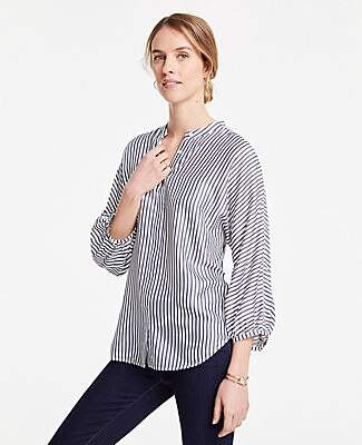Ann Taylor Striped Dolman Button Down Top