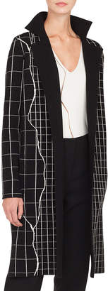 Akris Reversible Marble Tiles Intarsia Cashmere Long Cardigan