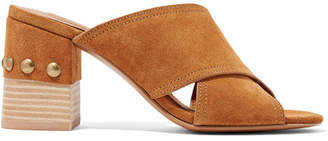 See by Chloe Tina Studded Suede Mules - Tan
