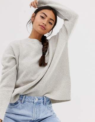 Bershka oversized crew neck jumper in beige
