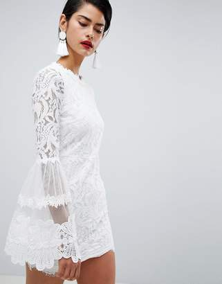 Missguided High Neck Bell Sleeve Lace Dress