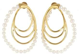 Oscar de la Renta Multi Hoop Pearl Earrings