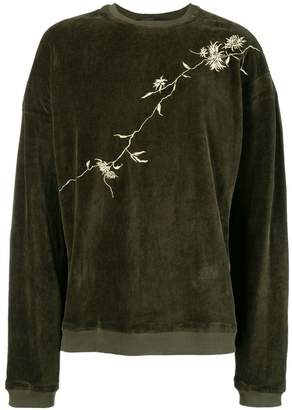 Haider Ackermann embroidered velvet sweatshirt