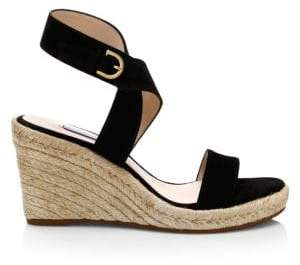 Stuart Weitzman Lexia Leather Slingback Platform Wedge Sandals