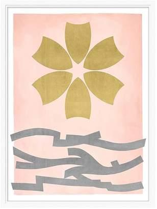 Pottery Barn Teen Gold Leaf Flower Framed Art, white frame, 24&quotx32&quot