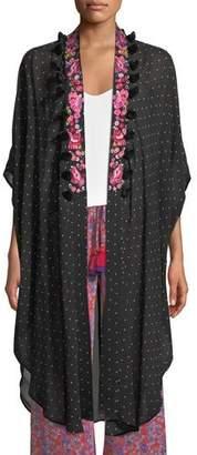Figue Amira Aztec-Dot Kaftan-Style Jacket