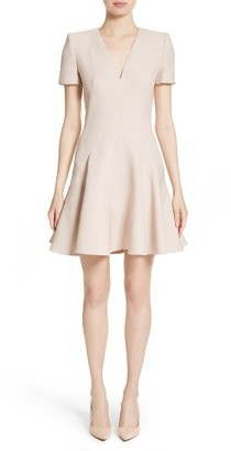 Women's Alexander Mcqueen Wool & Silk Blend Fit & Flare Dress $1,995 thestylecure.com