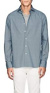 Barneys New York Men's Geometric-Print Cotton Shirt - Lt. Blue