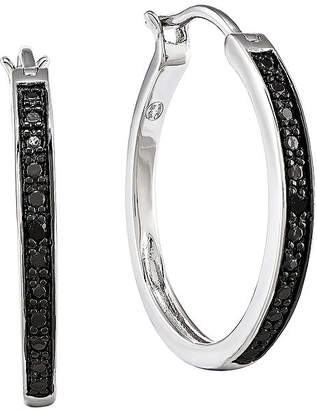 FINE JEWELRY Color-Enhanced Black Diamond-Accent Sterling Silver Small Hoop Earrings