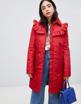 Love Moschino Frill Quilted Coat with Branded Circle Zip Puller
