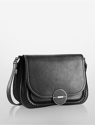 Calvin Klein Calvin Klein Womens Sloane Flap Messenger Bag Black