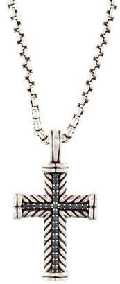 David Yurman Chevron Cross Prasiolite Pendant Necklace