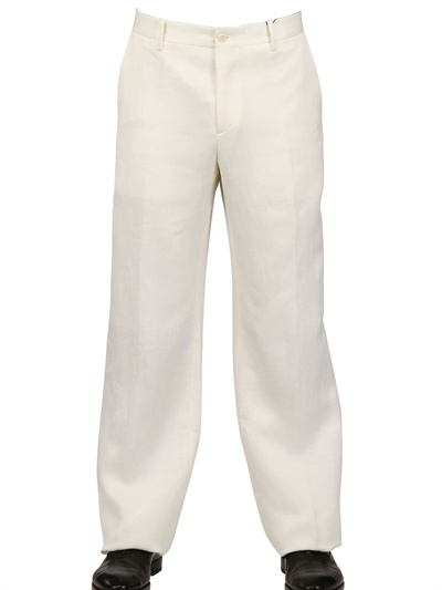 John Varvatos 27cm Silk Linen Canvas Wide Leg Trousers