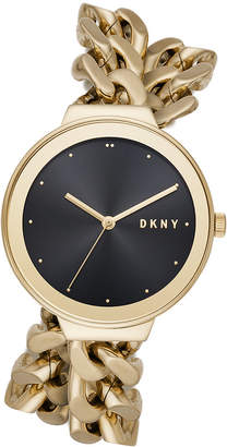 DKNY Women's Astoria Gold-Tone Stainless Steel Double Wrap Chain Bracelet Watch 38mm, Created for Macy's