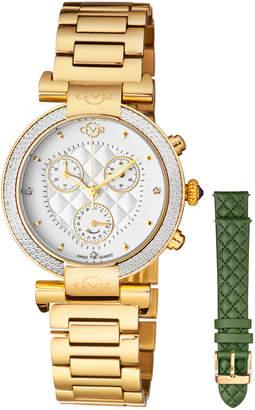 Gv2 37mm Berletta Quilted Diamond Bracelet Watch, Gold/Green