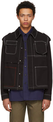 Valentino Black Contrast Stitching Denim Jacket