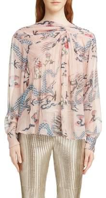 Isabel Marant Debby Twist Neck Dragon Print Silk Blend Blouse