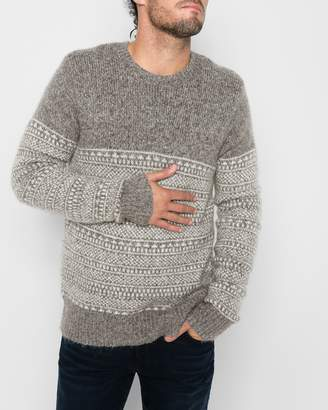 7 For All Mankind Long Sleeve Fairisle Crewneck Sweater in Camel