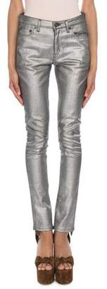 Saint Laurent Mid-Rise Skinny Jeans, Silver