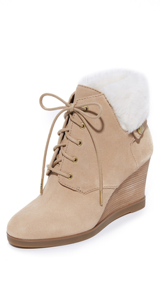 MICHAEL Michael Kors Carrigan Shearling Wedge Booties $225 thestylecure.com