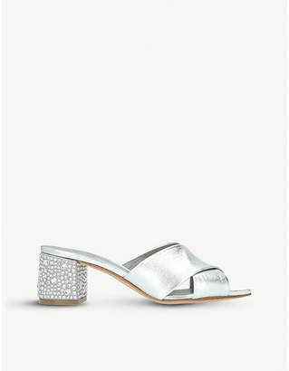 Gina Janiero Swarovski-embellished leather mules