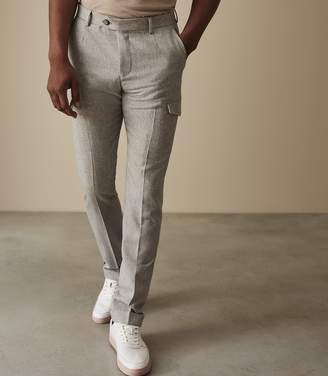Reiss Our last order date for Christmas has now passed REGIMENT MILITARY DETAIL FLANNEL TROUSERS Light Grey