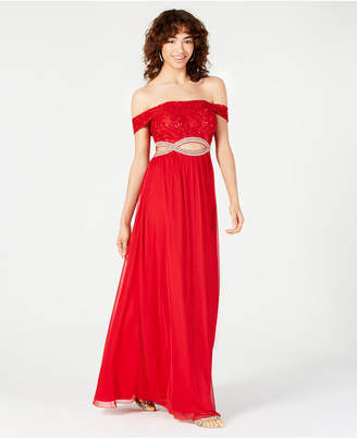 Speechless Juniors' Off-The-Shoulder Infinity-Waist Gown