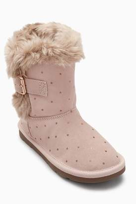 Next Girls Pink Faux Fur Trim Pull-On Boots (Younger)