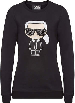 Karl Lagerfeld Paris Embroidered and Embellished Cotton Sweatshirt