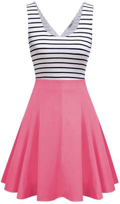 MISSKY Women Open Back Sleeveless Sexy Hollow out Slim Fit Black White Stripe Casual Cute Mini Dresses Coral M