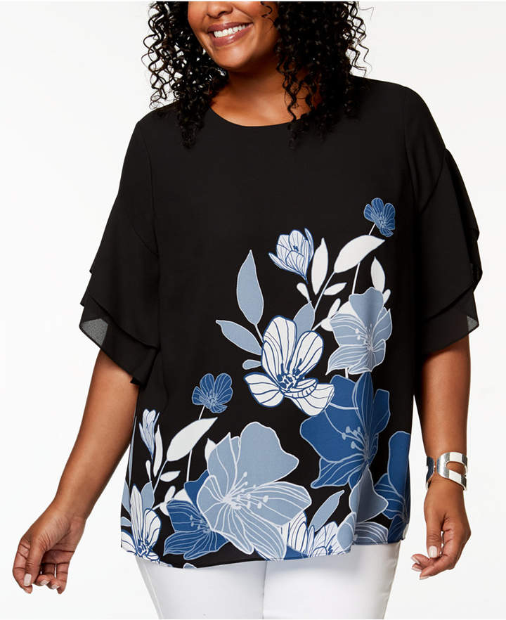 Plus Size Printed Dolman-Sleeve Top, Created for Macy's