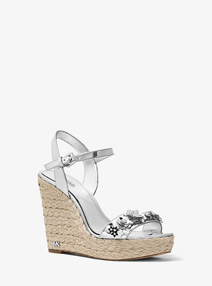 Michael Kors Jill Floral Sequined Metallic Wedge