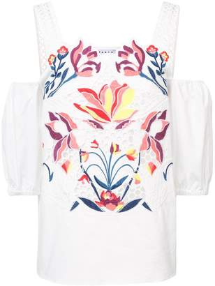 Tanya Taylor floral embroidered dropped shoulders blouse